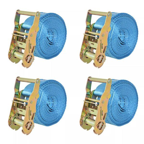 vidaXL Chingi fixare cu clichet, 4 buc, 2 tone, 6 m x 38 mm, albastru