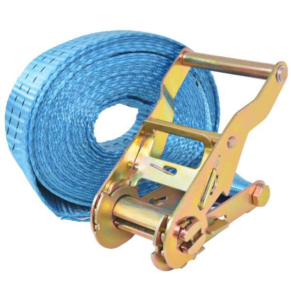 vidaXL Chingi fixare cu clichet, 10 buc, 2 tone, 6 m x 38 mm, albastru