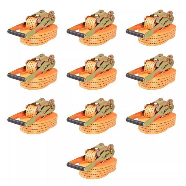 vidaXL Chingi fixare cu clichet, 10 buc, 4 tone, 8m x 50mm, portocaliu