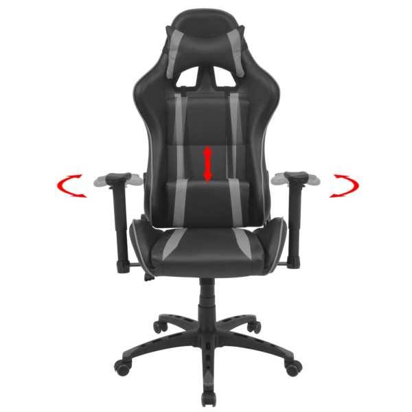 Scaun birou rabatabil cu design racing, piele artificială, gri