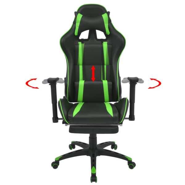 vidaXL Scaun birou rabatabil, design racing, suport picioare, verde