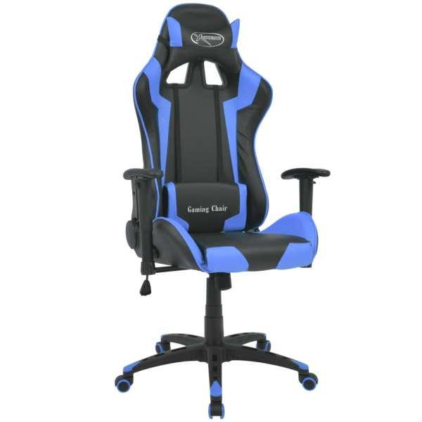 vidaXL Scaun birou rabatabil design racing piele artificială, albastru