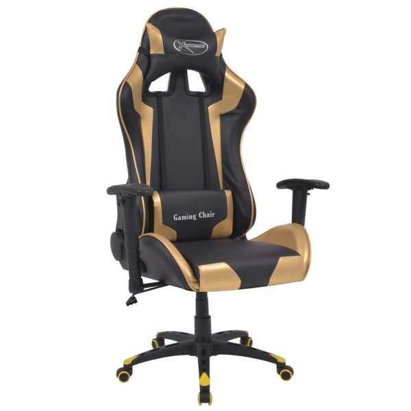 vidaXL Scaun birou rabatabil, design racing, piele artificială, auriu