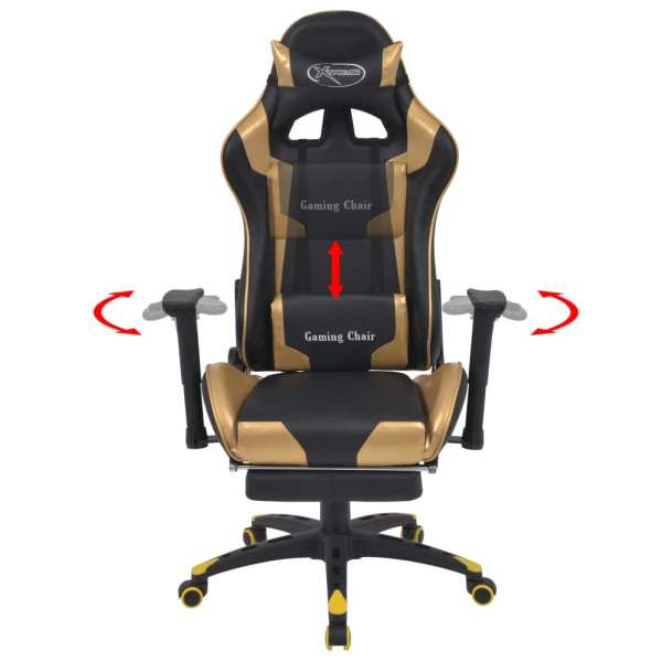 vidaXL Scaun birou rabatabil, design racing, suport picioare, auriu