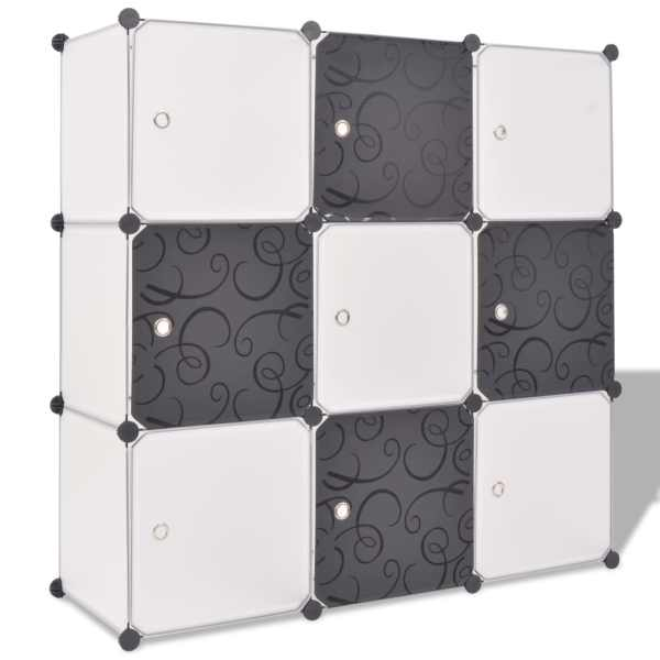 vidaXL Dulap de depozitare tip cub, cu 9 compartimente, negru și alb