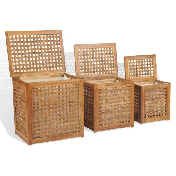 vidaXL Set de coșuri pentru rufe, 3 piese, lemn de tec