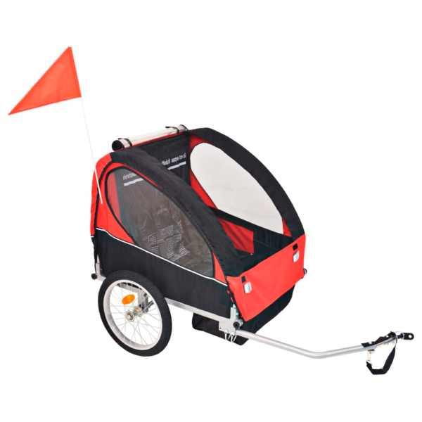 vidaXL Remorcă de bicicletă pentru copii, roșu și negru, 30 kg