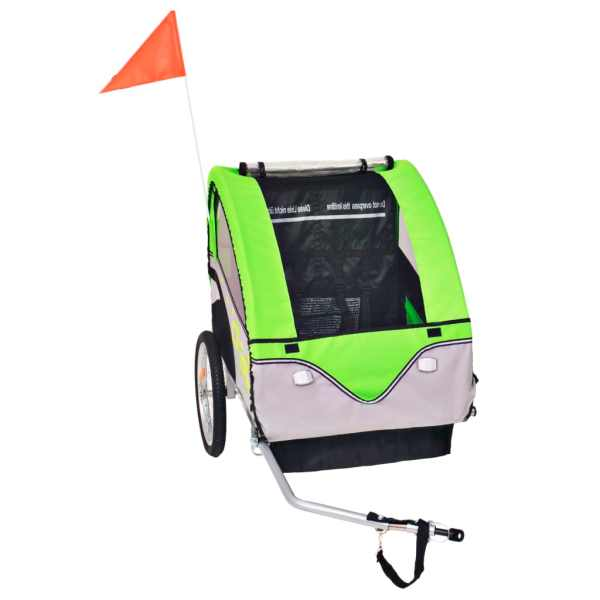 vidaXL Remorcă de bicicletă pentru copii, gri și verde, 30 kg