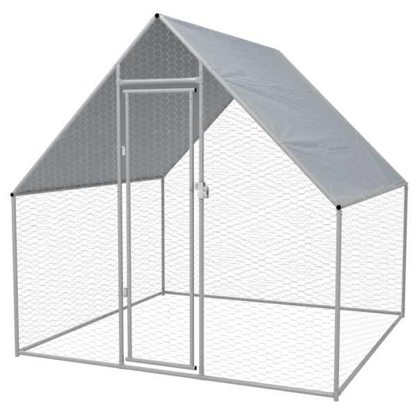 vidaXL Coteț de exterior pentru păsări, 2x2x1,94 m, oțel galvanizat