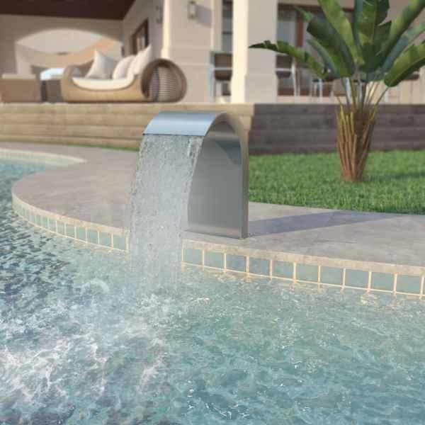 vidaXL Fântână de piscină, oțel inoxidabil 45x30x65 cm, argintiu