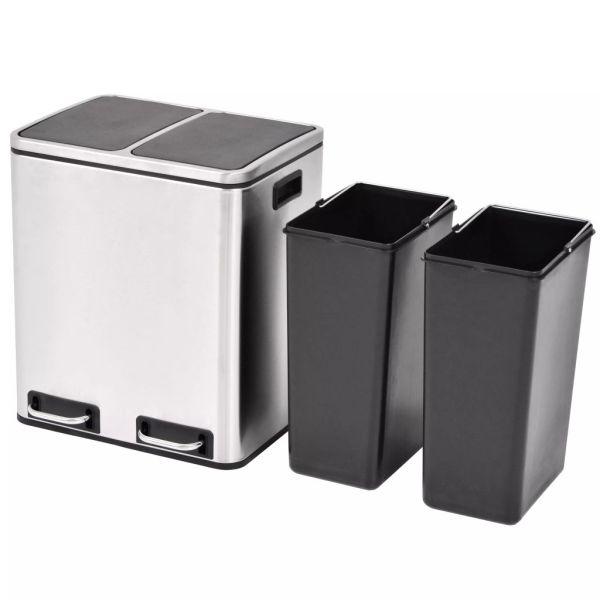 vidaXL Coș gunoi cu pedale pentru reciclare, oțel inoxidabil, 2 x 15 L