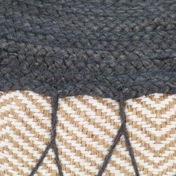 Fotoliu pouf tricotat manual, iută și bumbac, 50×30 cm albastru