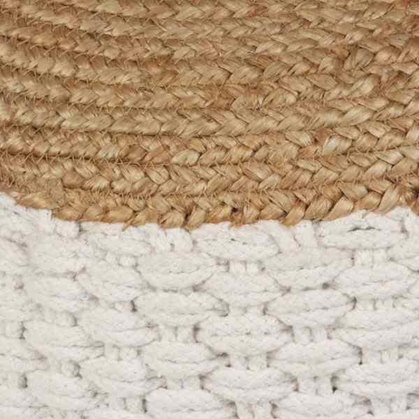 vidaXL Fotoliu pouf tricotat manual, iută și bumbac, 50 x 35 cm, alb