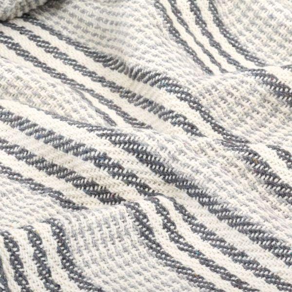 Pătură decorativă cu dungi, bumbac, 160 x 210 cm, gri și alb