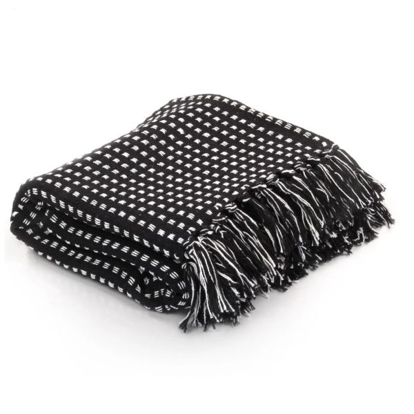 vidaXL Pătură decorativă cu pătrățele, bumbac, 160 x 210 cm, negru