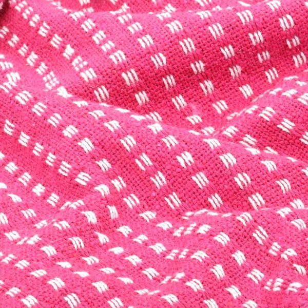 Pătură decorativă cu pătrățele, bumbac, 160 x 210 cm, roz