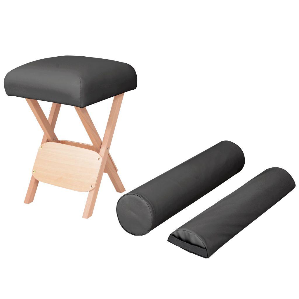 vidaXL Taburet pliabil de masaj cu șezut gros de 12 cm & 2 perne negru