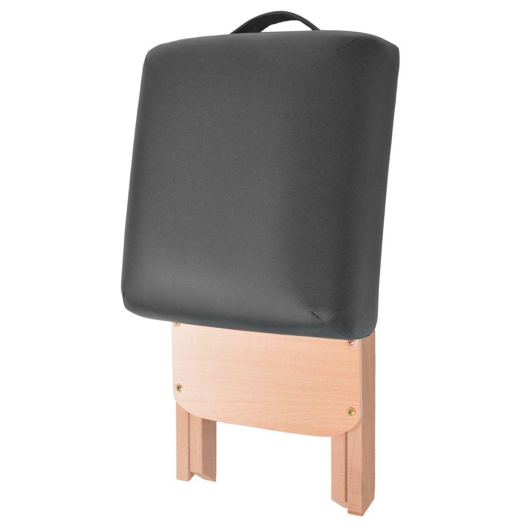 vidaXL Scaun masaj pliabil cu șezut gros de 12 cm, negru