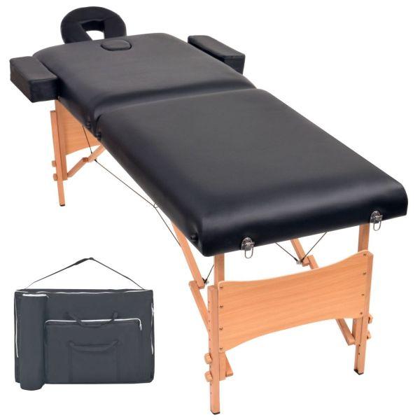vidaXL Masă de masaj pliabilă cu 2 zone, 10 cm grosime, Negru