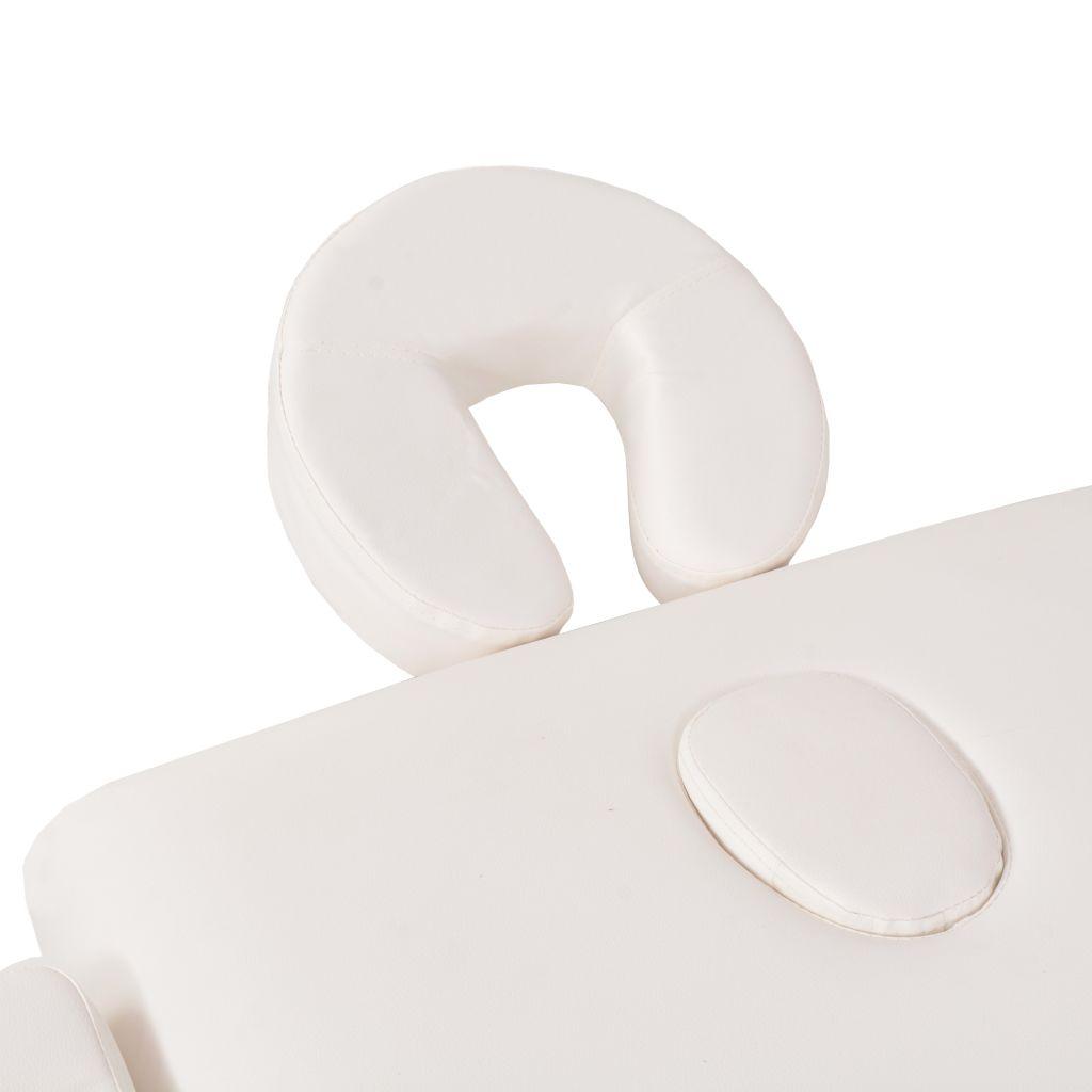 vidaXL Set taburet și masă masaj pliabilă 2 zone, grosime 10 cm, alb