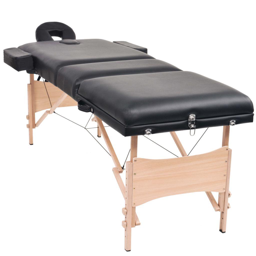 vidaXL Set taburet și masă de masaj pliabilă în 3 zone, grosime 10 cm, negru