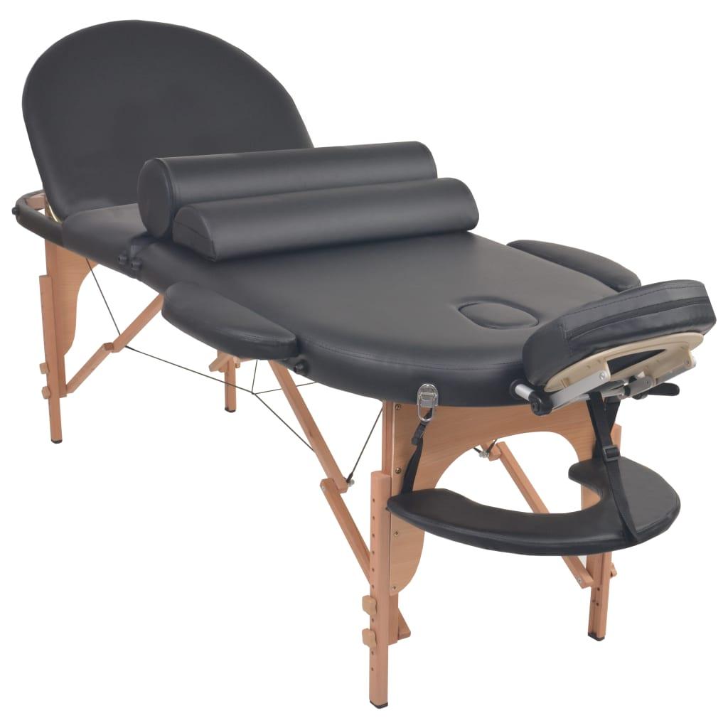 Masă masaj pliabilă, 10 cm grosime, cu 2 perne, oval, Negru