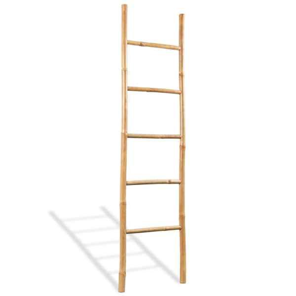 vidaXL Scară pentru prosoape cu 5 trepte, bambus, 150 cm