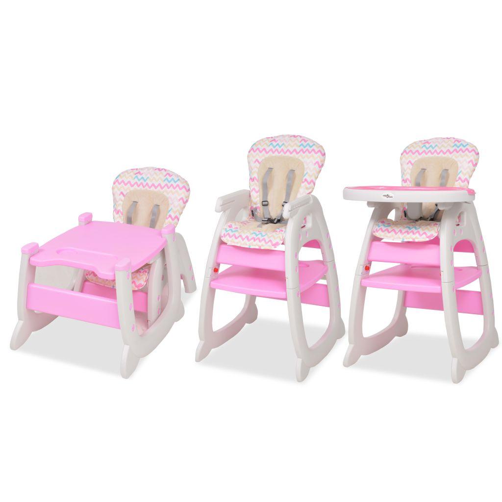 vidaXL Scaun înalt convertibil 3-în-1 cu masă, roz