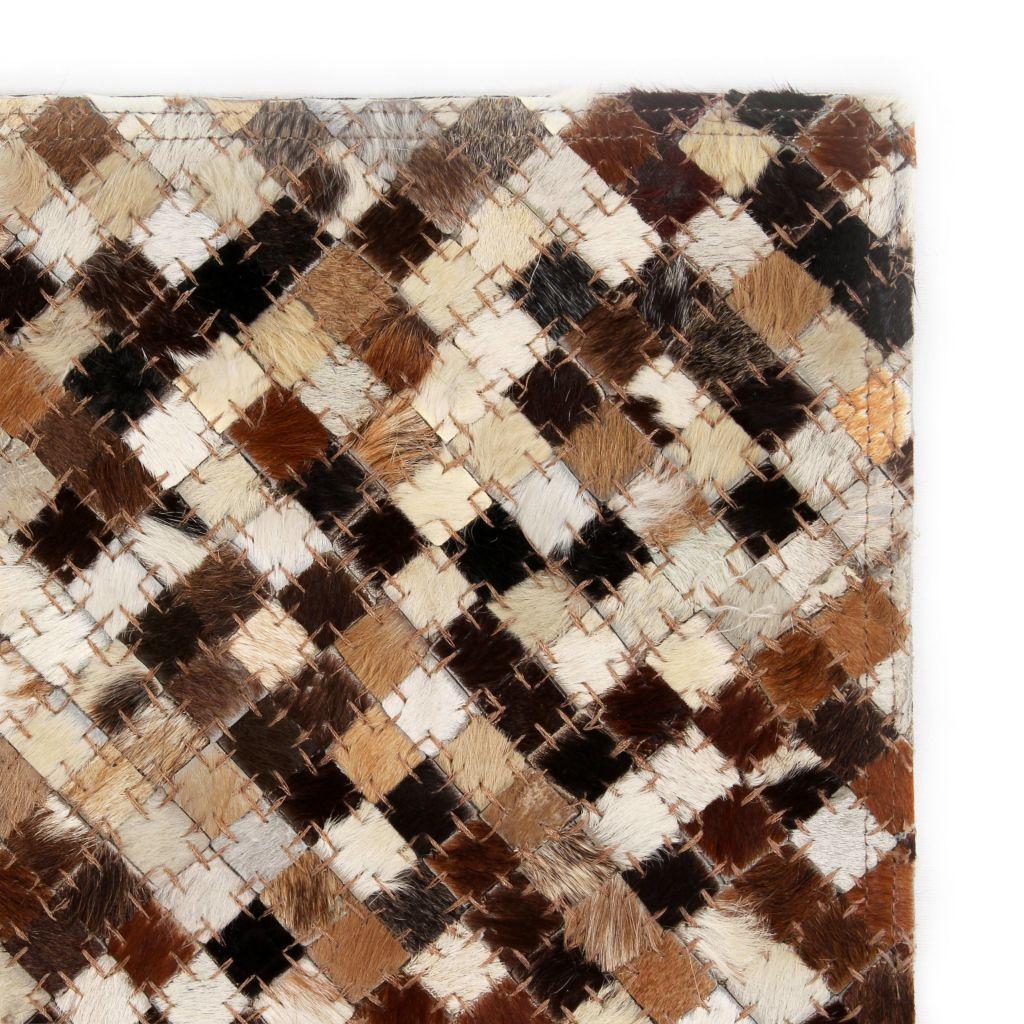 Covor piele naturală, mozaic, 80×150 cm, pătrat, maro/alb