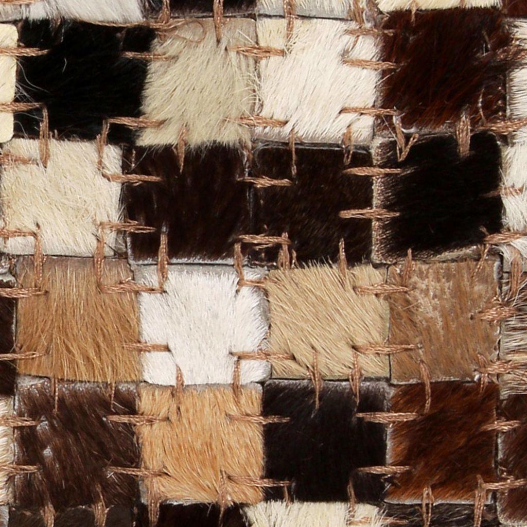 Covor piele naturală, mozaic, 120×170 cm, pătrat, maro/alb