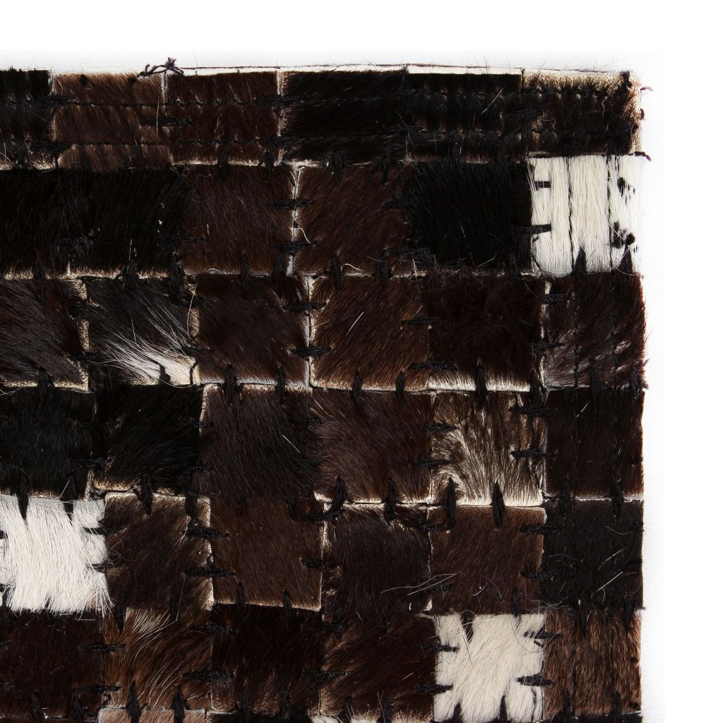 Covor piele naturală, mozaic, 80×150 cm, pătrate, negru/alb