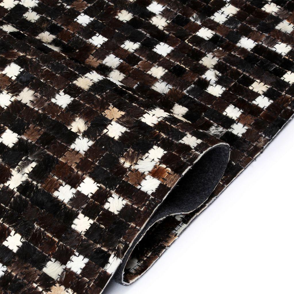 vidaXL Covor piele naturală, mozaic, 120×170 cm, pătrate, negru/alb