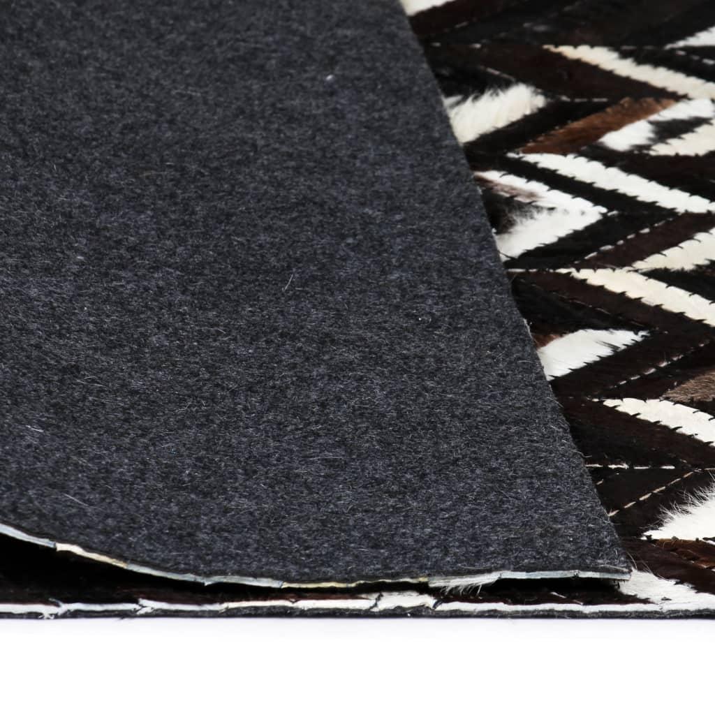 Covor piele naturală, mozaic, 160×230 cm zig-zag Negru/Alb