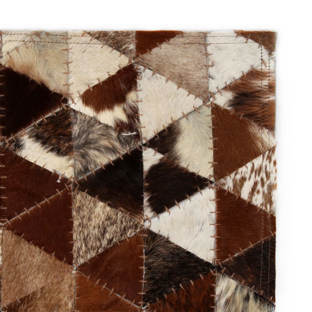 Covor piele naturală, mozaic, 80×150 cm Triunghiuri Maro/alb