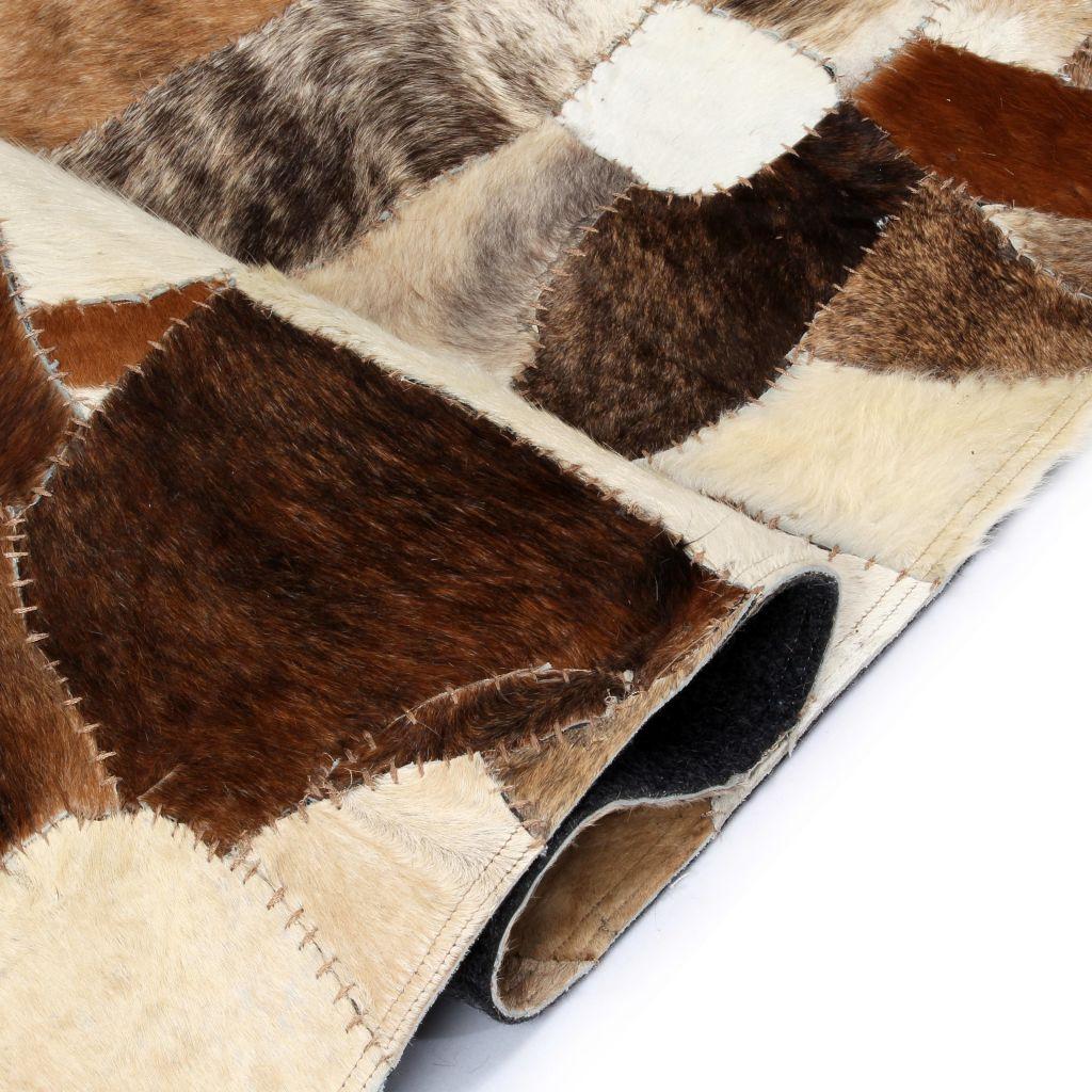 Covor petice diverse piele naturală 80 x 150 cm maro/alb