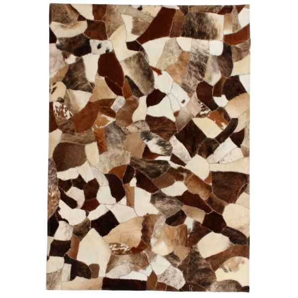 vidaXL Covor piele naturală, mozaic, 160×230 cm Maro/alb
