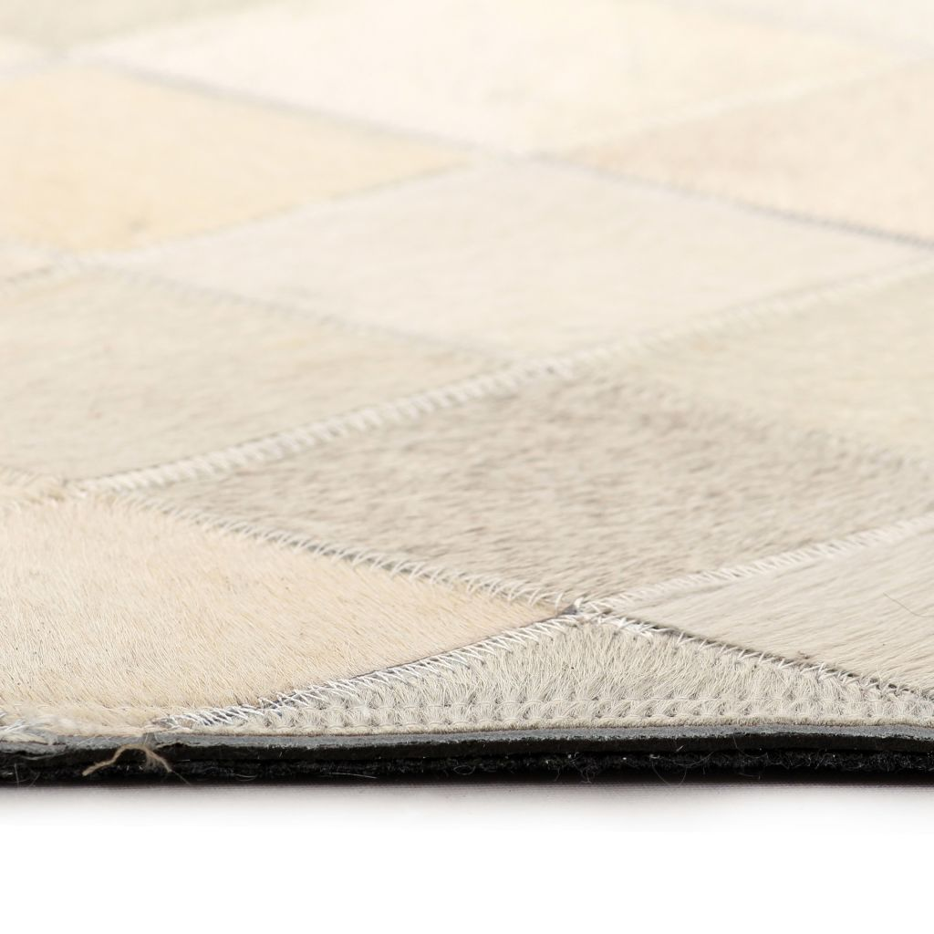 Covor piele naturală, mozaic, 120×170 cm Romburi Gri