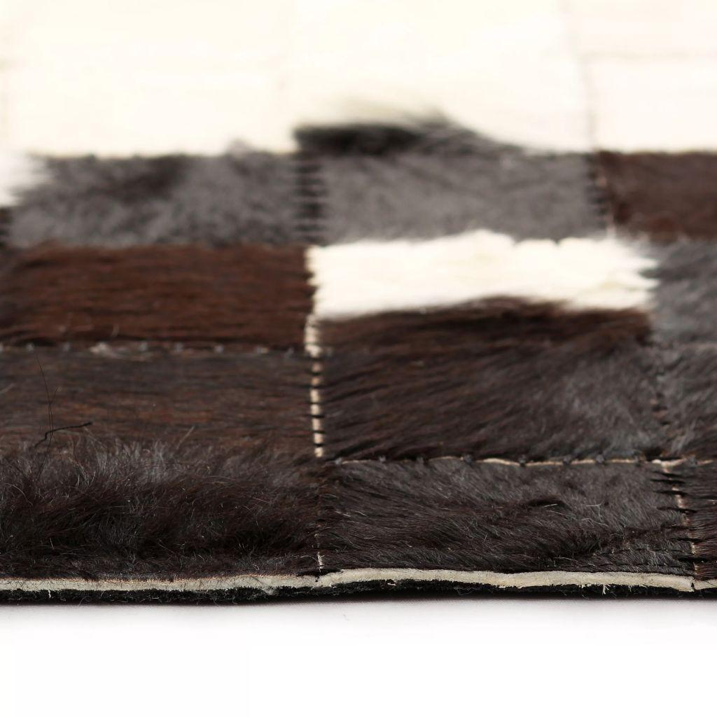 vidaXL Covor piele naturală, mozaic, 80×150 cm Pătrate Negru/alb
