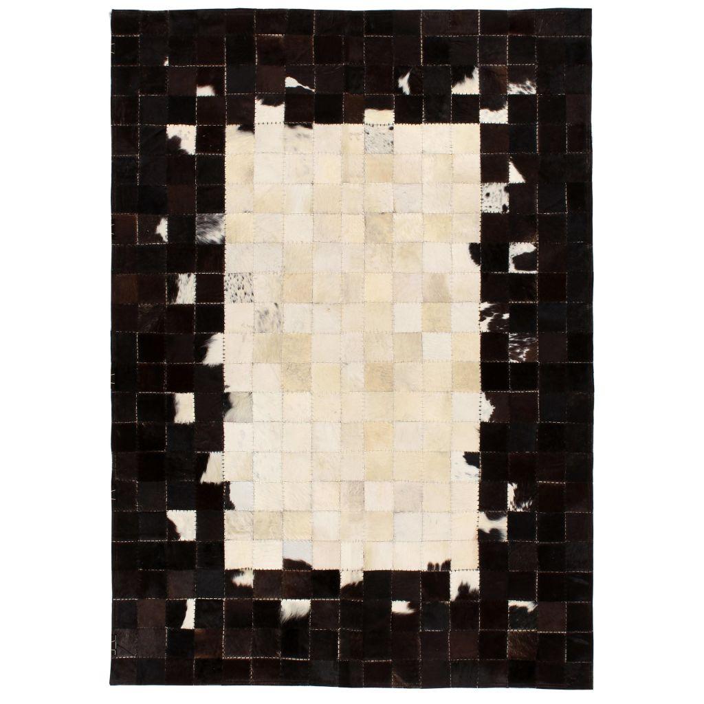 vidaXL Covor piele naturală, mozaic, 160×230 cm Pătrate Negru/alb