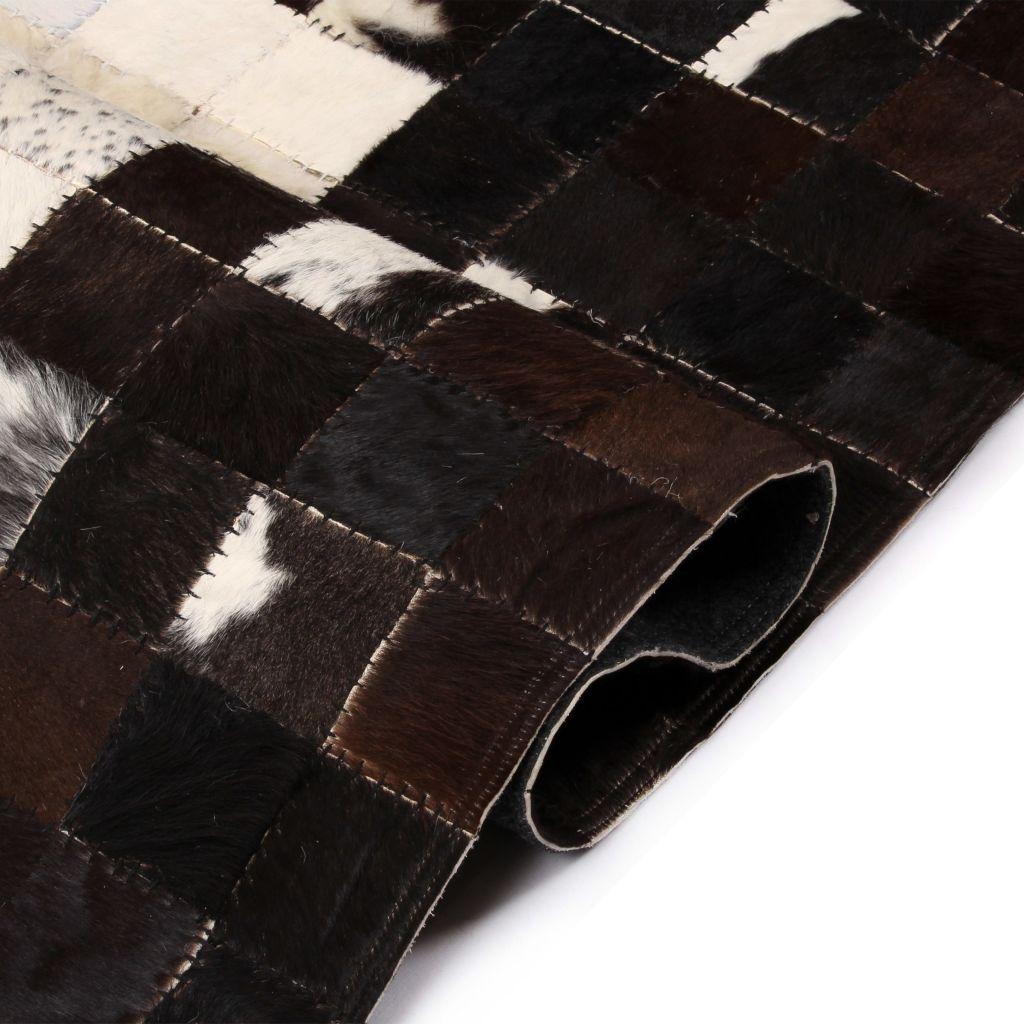 Covor piele naturală, mozaic, 160×230 cm Pătrate Negru/alb
