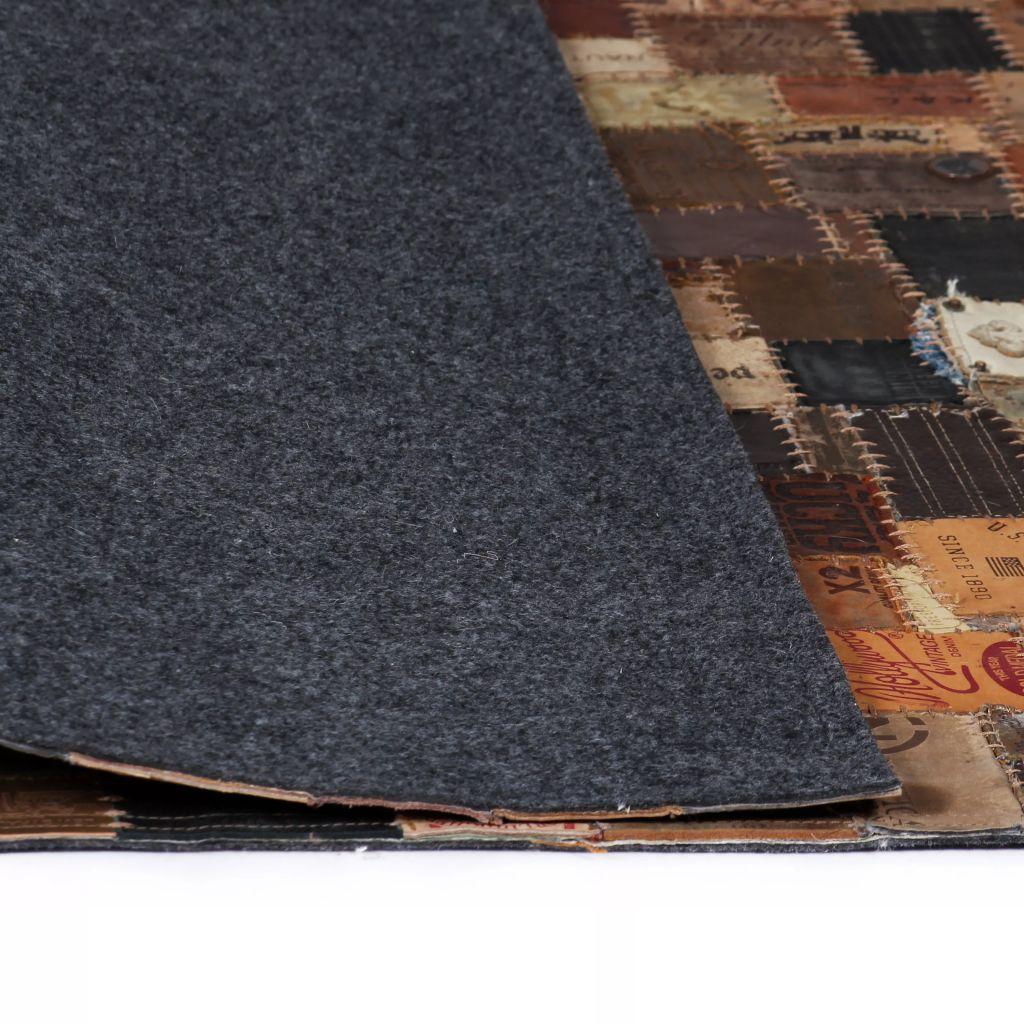 Covor Piele naturală Colaj etichete jeans 80×150 cm Maro