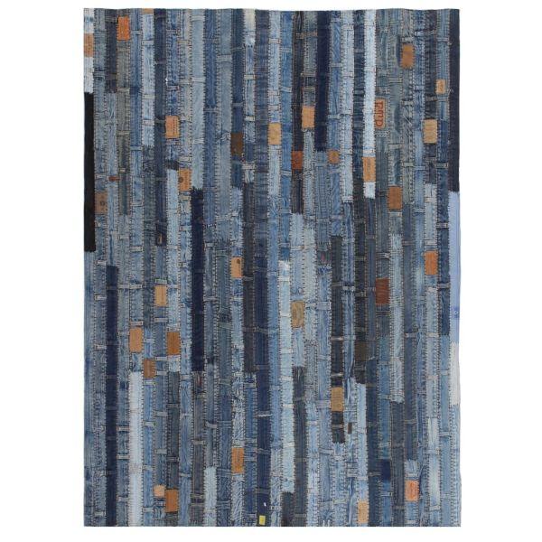 vidaXL Covor petice jeans 80×150 cm Albastru denim