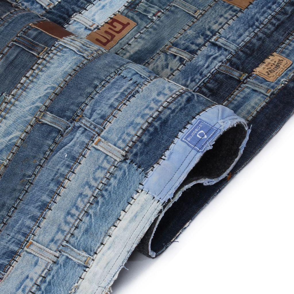 Covor petice jeans 80×150 cm Albastru denim
