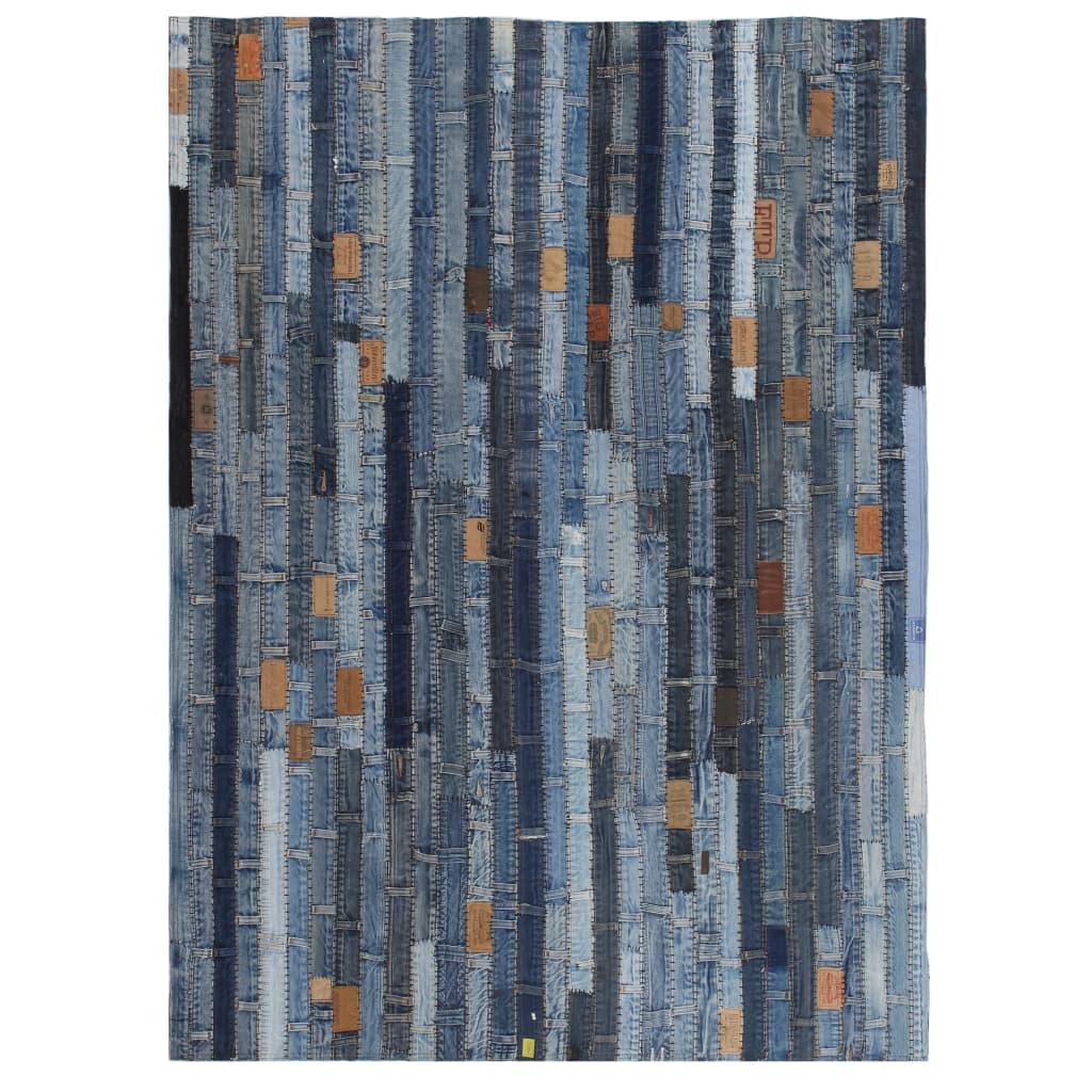 vidaXL Covor petice jeans 160×230 cm Albastru denim