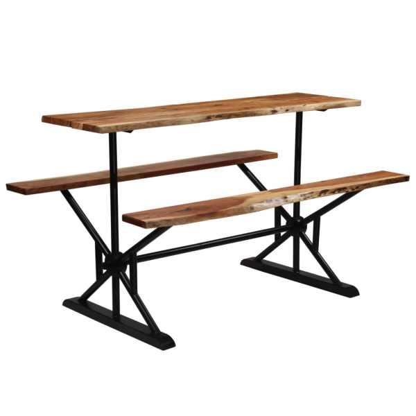 vidaXL Masă de bar cu bănci, 180x50x107 cm, lemn masiv acacia