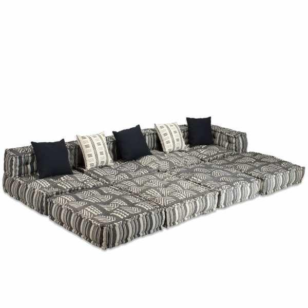 Canapea puf modulară cu 4 locuri, gri cu dungi, material textil