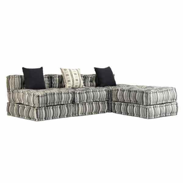 vidaXL Canapea puf modulară cu 3 locuri, gri cu dungi, material textil