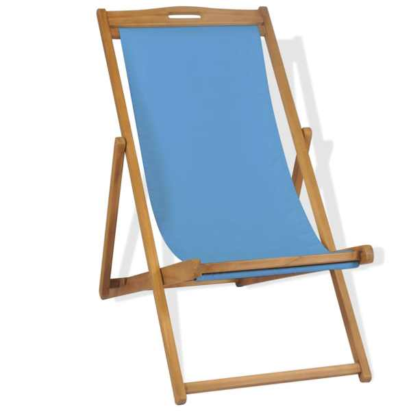 vidaXL Scaun de exterior, albastru, 56 x 105 x 96 cm, lemn de tec