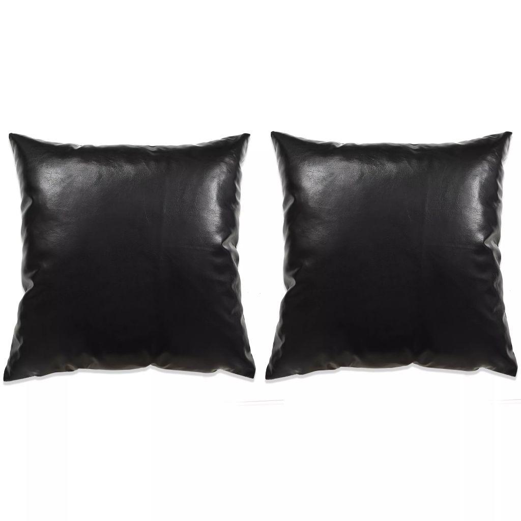 vidaXL Set perne decorative 2 buc. Poliuretan 45×45 cm Negru