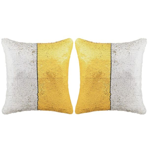 vidaXL Set perne cu paiete, 2 buc., 45 x 45 cm, auriu și argintiu